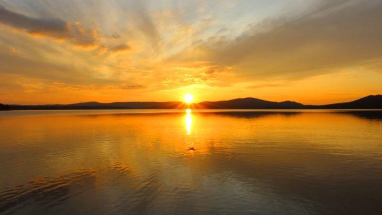 Romantico tramonto in Lapponia svedese