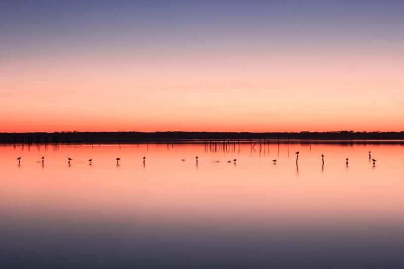 tramonto nel lago