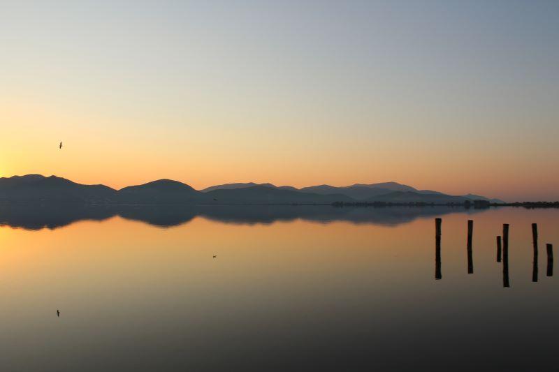 alba d'agosto sul lago di massaciuccoli